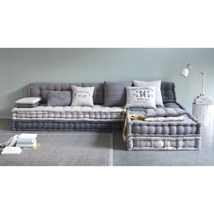 banquette d 39 angle modulable 6 places en coton gris banquette modulable et angles. Black Bedroom Furniture Sets. Home Design Ideas