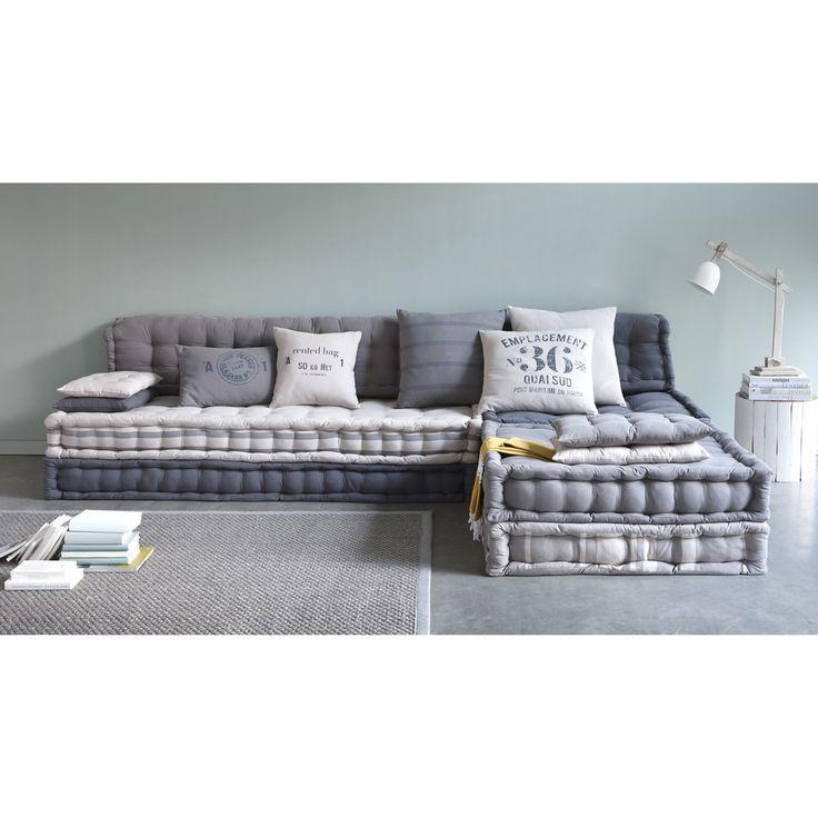banquette d 39 angle modulable 6 places en coton gris. Black Bedroom Furniture Sets. Home Design Ideas