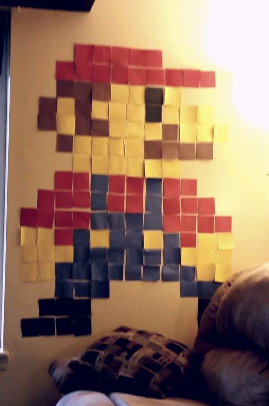 Wall Decor With Construction Paper : Mario wall decor for the party using construction paper