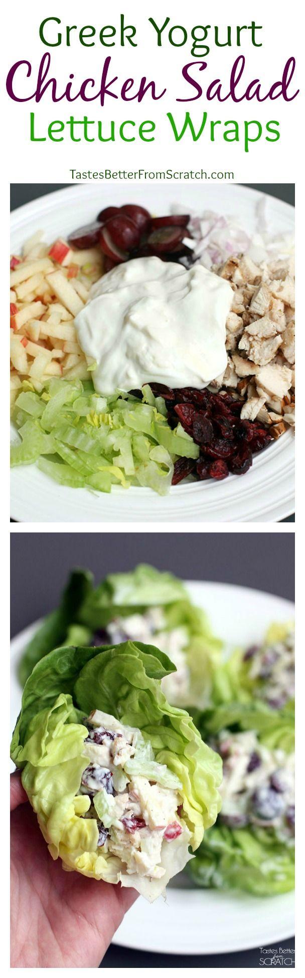 ♨ Greek Yogurt Chicken Salad Lettuce Wraps