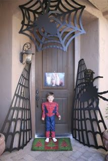 Our Wonderful Life: Spiderman Birthday Party. This cool entrance could be reused for Halloween.