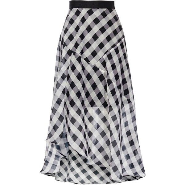 Coast Riki Gingham Skirt ($110) ❤ liked on Polyvore featuring skirts, women skirts, coast skirts, transparent skirt, gingham midi skirt, asymmetrical skirt and see-through skirts