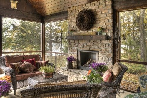 Porch traditional porch: Rustic Porches, Stones Fireplaces, Decor Ideas, Fireplaces Mantels, Fireplaces Design, Screens Porches, Outdoor Rooms, Screens In Porches, Outdoor Fireplaces