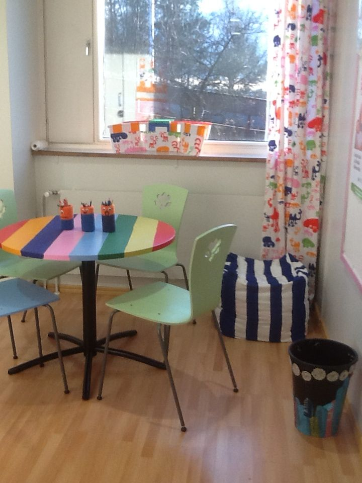 Repainted furniture, chairs and rainbow table. Fabric of curtains from Eurokangas.