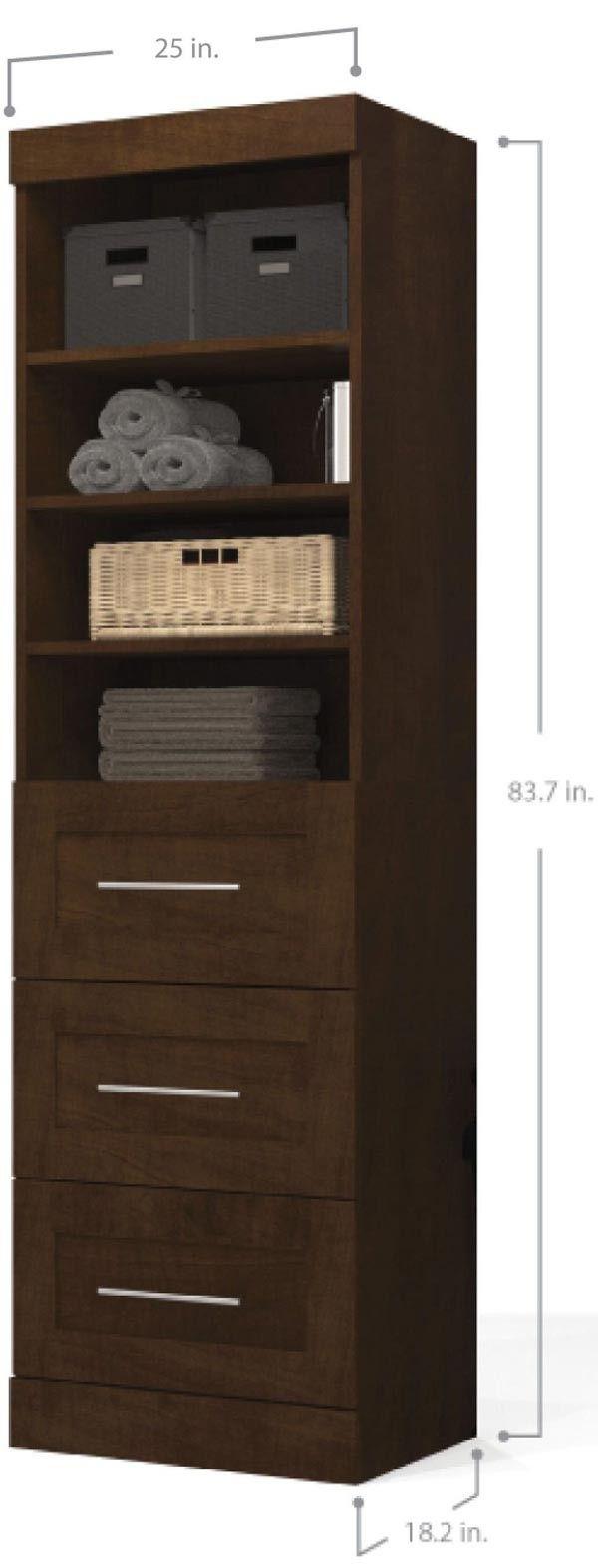 """Bestar - Pur Chocolate 25"""" 3 Drawer Storage Unit - 26871-69"""