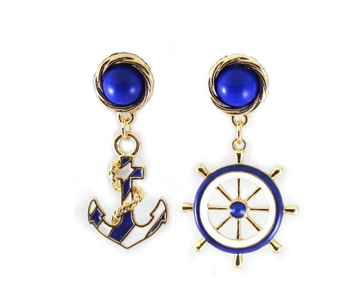 a00 якорь флот стиль синие и белые серьги JM TS5 US $2.39