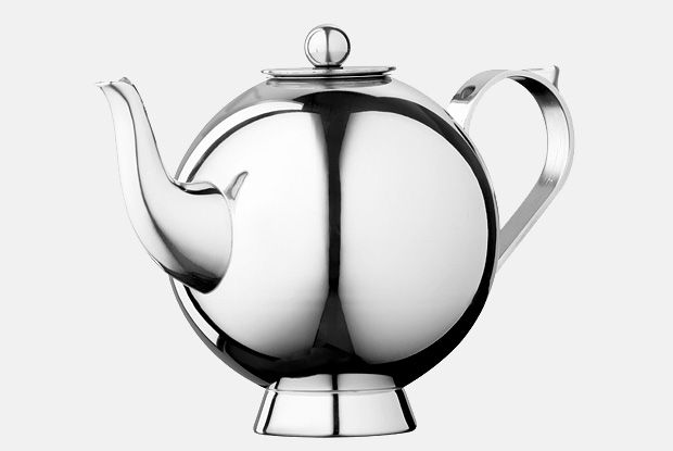 Spheres Tea Infuser Large  http://www.nickmunro.com/shop/tea-and-coffee/  Round tea infuser with infuser basket made from 18/10 polished stainless steel. Insulated steel handle and knob. Non-drip spout. Dishwasher safe.  Dimensions:  Capacity: 1 litre  Height:  16 cm  Diameter: 13 cm