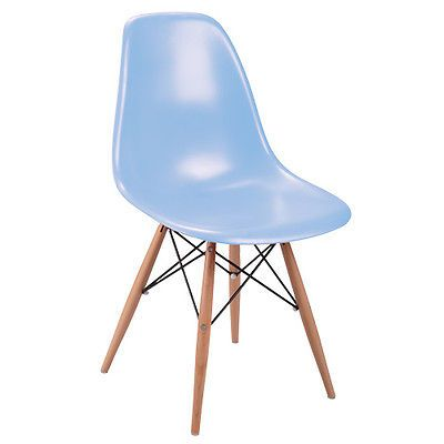 MILAN DIRECT DSW Dining Side Chair Wooden Legs - Eames Reproduction - Blue