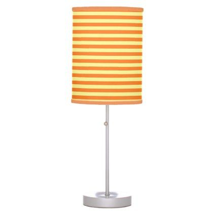 Soft Yellow and Orange Stripes Table Lamp - #customizable create your own personalize diy