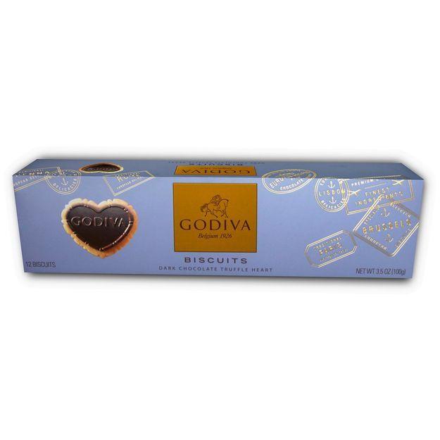 Godiva Chocolatier Dark Chocolate Dipped Biscuits in Gift Box