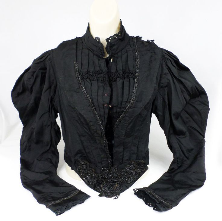 Antique Victorian Womens Black Mourning Taille Suit Jacket Dress Jet Glass Beads