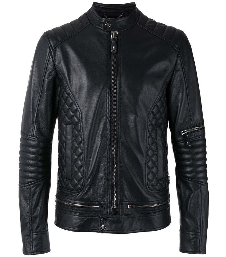 New Handmade Black Quilted Panel Biker Leather Jacket, Men Fashion Zipper Highwa - Outerwear