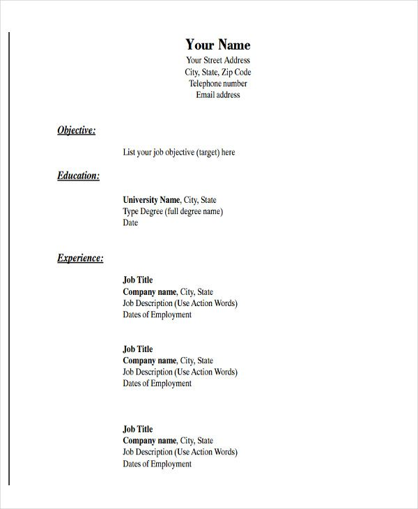 Pdf Basic Resume Di 2020