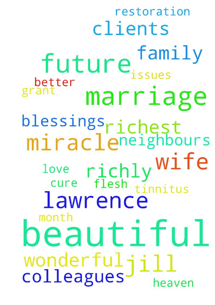 Please will you continue to pray -  Please please pray for miracle restoration on both my Beautiful wife Jill and I Lawrence and our beautiful marriage on all our health concerns and issues. Please pray for quick cure healing on my tinnitus Please pray our Father in heaven will richly grant richly bless my beautiful wife Jill and I Lawrence and our beautiful marriage with the most beautiful day and week and the month of October with wonderful miracle breakthroughs with beautiful wonderful…