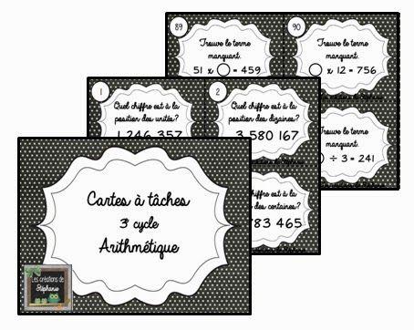 Les créations de Stéphanie: Cartes à tâches - Arithmétique