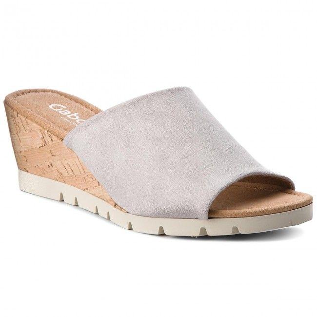 Klapki Gabor 82 840 14 Grey Kork Sandal Espadrille Slippers Slide Slipper