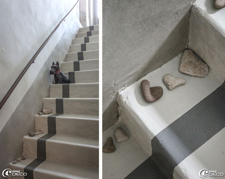 Heart shaped stones on the step of the staire