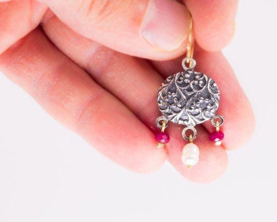 Pearl and ruby ethnic pattern earrings  by JackAssayagJewelry