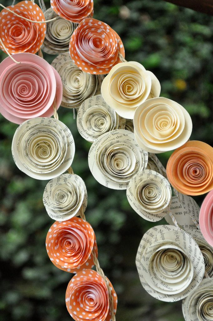 Book Page Garlands: Make garlands out of book pages to use in parties or weddings. Here's a tutorial for how to make a paper garland.  Source: Etsy user lillesyster