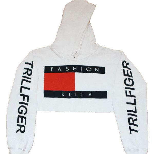 Soto Militia Fashion Killa x Trillfiger Crop Hoodie (White) ($42) ❤ liked on Polyvore featuring tops, hoodies, jackets, hoodie crop top, white crop top, white hooded sweatshirt, white top and white hoodie