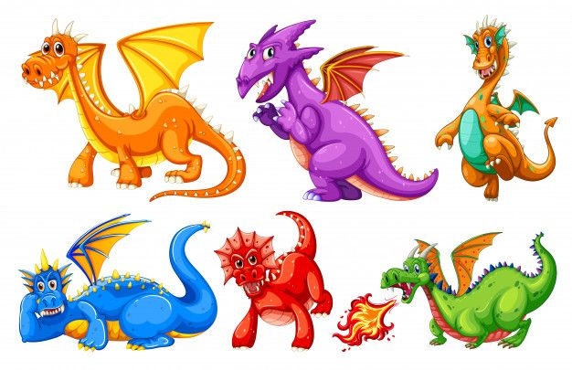 Set Of Dragon Character Free Vector Free Vector Freepik Freevector Character Cartoon Dragon Dragon Images Animal Clipart