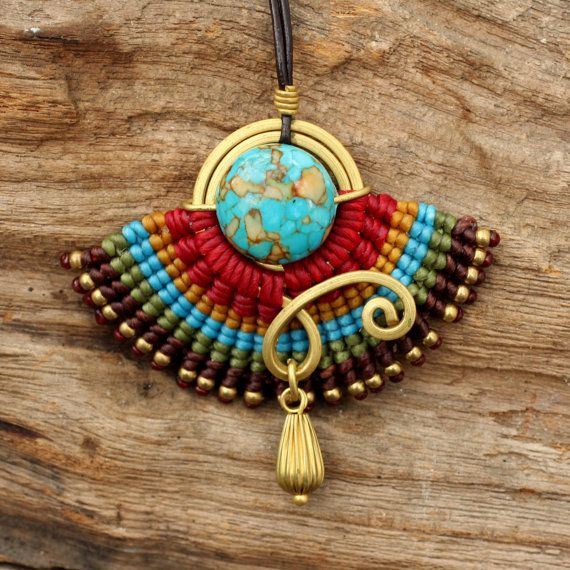 woven cotton tribal pendant with hand shaped by cafeandshiraz, $45.00