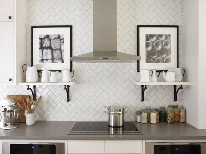 Белая кирпичная плитка на кухне: 25 примеров