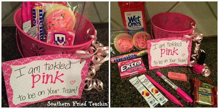"""""""Tickled pink"""" gift for grade level team members"""