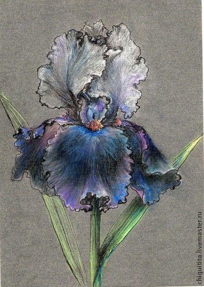 Картины цветов ручной работы. Ярмарка Мастеров - ручная работа Ирис на темном. Handmade.