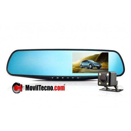 Espejo retrovisor con doble cámara para coches
