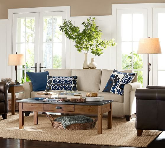 13 best design trend relaxed rustic images on pinterest - Pottery barn living room furniture ...