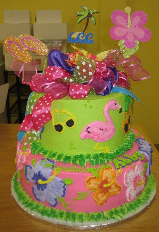 Luau birthday cake luau birthday ideas pinterest for Anniversary cake decoration