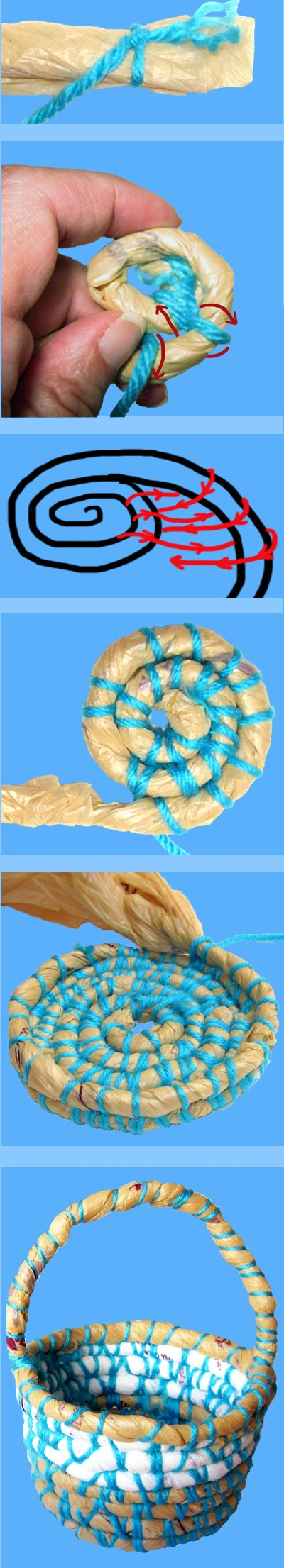 How To Make A Basket Out Of Recycled Plastic Bags   This is a cool idea!!!!!