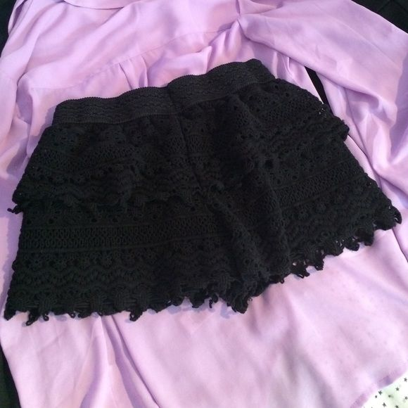 """Boho Black Crochet Shorts Super cute black crochet shorts that pretty much match with anything... 100% cotton. Only worn twice. Reaches fingertip length on someone 5'2"""". Pet and smoke free. Bundle to save with my closet ✨ Shorts"""