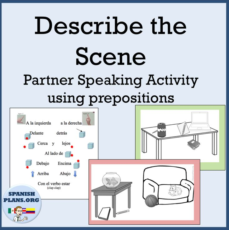 describing a scene to your partners using prepositions of location spanish spanish lessons. Black Bedroom Furniture Sets. Home Design Ideas