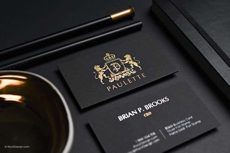 Black business card matte gold stamping elegant classy template - Paulette | RockDesign Luxury Business Card Printing