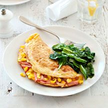 Corn and bacon omelette