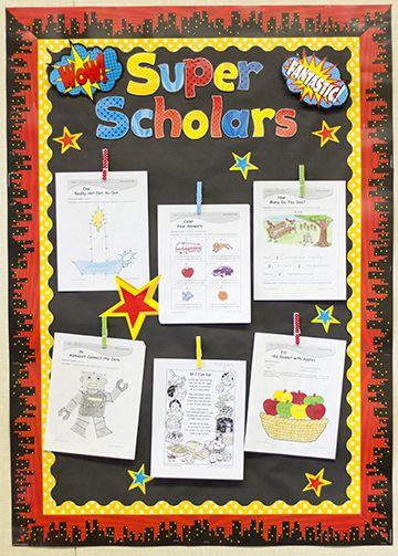 Create a Super Scholars Bulletin Board with the the popular Superhero Themed Classroom from Teacher Created Resources, it is sure to WOW your students. Featuring skyscrapers, pop art wording, lights in the sky, superhero patterns, and traditional colors of superheroes! Red, Blue, Yellow and Black.
