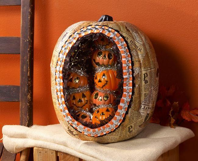 Diy halloween vintage inspired diorama pumpkin