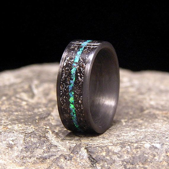 Meteorite Shavings With Blue Green Lab Opal Inlay Carbon Fiber Wedding Band Or Unique Gift Ring