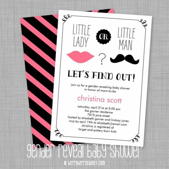 Lips And Mustache Gender Reveal Baby Shower Invitations By  Berryberrysweet.com