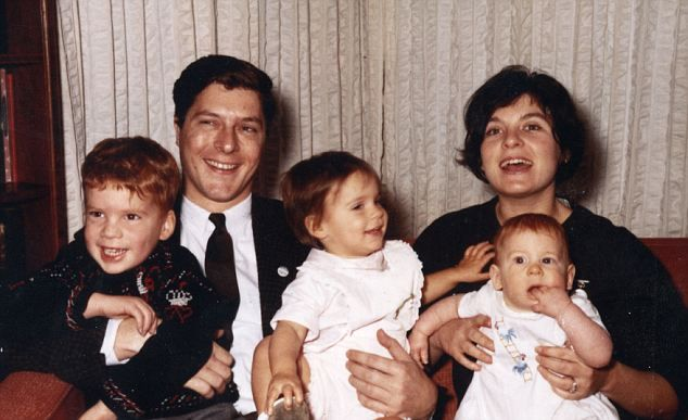 Family: John Paul Getty II with his first wife Gail Harris and their children John Paul Getty III, Aileen Getty and Mark Getty.