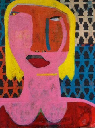 Helen Oprey School Girl - 2014 Mixed media on linen 76 x 103 cm  Enquiries: info@19karen.com.au