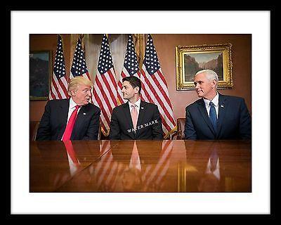 President Donald Trump 11x14 Photo Print with Paul Ryan and Mike Pence GOP USA