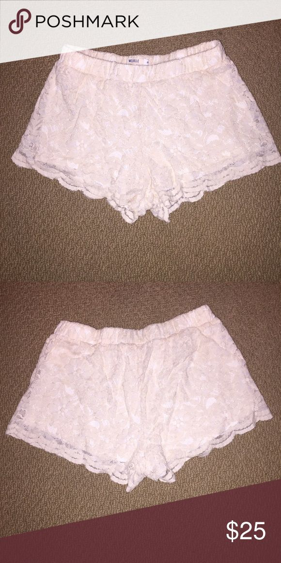 Brandy Melville floral lace shorts Very cute cream colored  lace shorts. Have barely worn so they look fairly new with no holes or stains. Size small. Brandy Melville Shorts