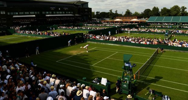 Wimbledon 2017 - A general view of Court 8 during Jack Sock's first-round game against Christian Garin of Chile on Tuesday  4th July. Photograph: Shaun Botterill/Getty Images