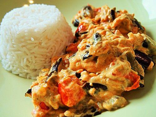Auberginen Curry mit Joghurtsauce