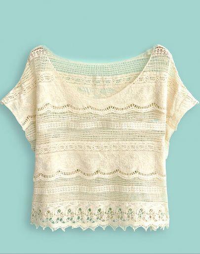 Beige Batwing Sleeve Crochet Lace Crop Top pictures