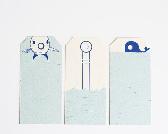 Summer gift tags  fish  submarine  whale  set of by 10antemeridiem, $5.00