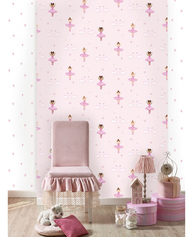 This Ballerina Wallpaper features pretty ballerinas, swans and butterflies with glitter and metallic highlights on a soft pink background. Free UK delivery available